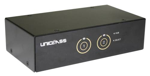 UNICLASS AP-832A Professional Smart-Touch 2-fach DP+USB3.0+TTU+Audio KVM-Switch, inkl. 2 x 1,2m Kabel