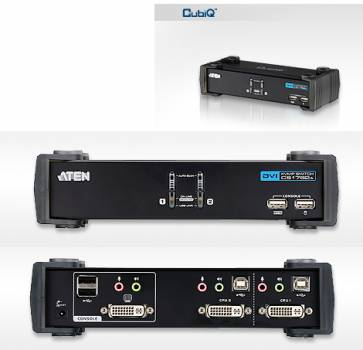 ATEN CS1762A 2-fach DVI/USB2.0/Audio KVM-Switch inkl. 2x 1,8m Kombikabel