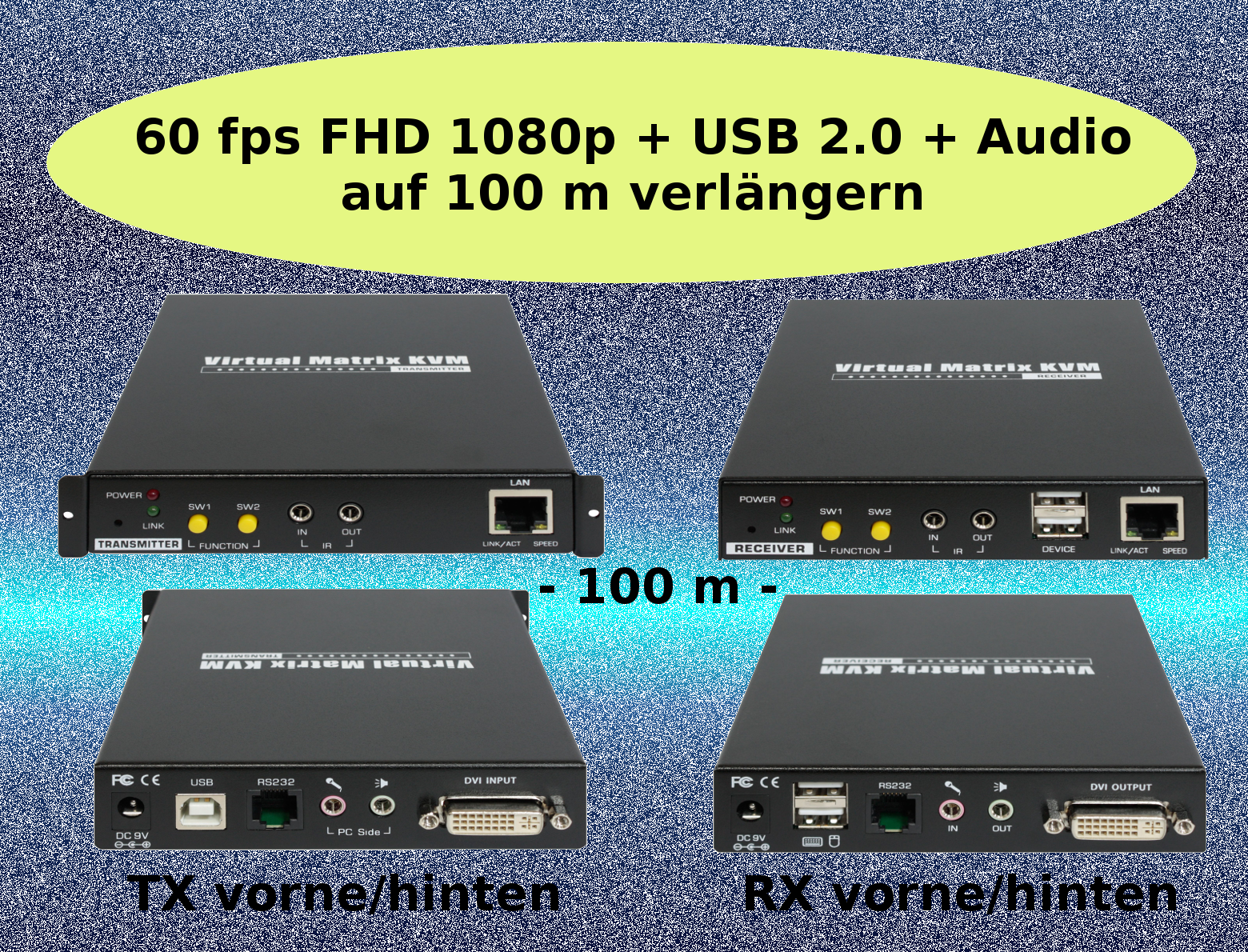 DVI, USB 2 0, Audio KVM Extender over IP or 1:1 Cat-Cable