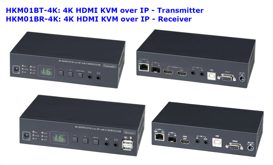 KVM-over-IP 4K Ultra-HD HDMI / USB 2 0 / Audio / RS232 / IR