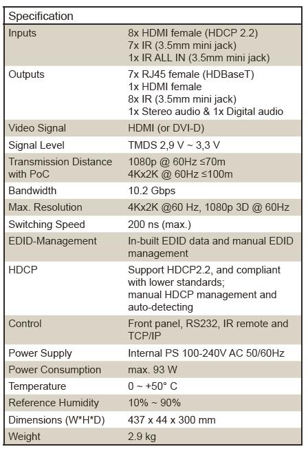 8x8 4K HDMI-Matrix with HDBaseT - U T E  UH-88-7X - KVM
