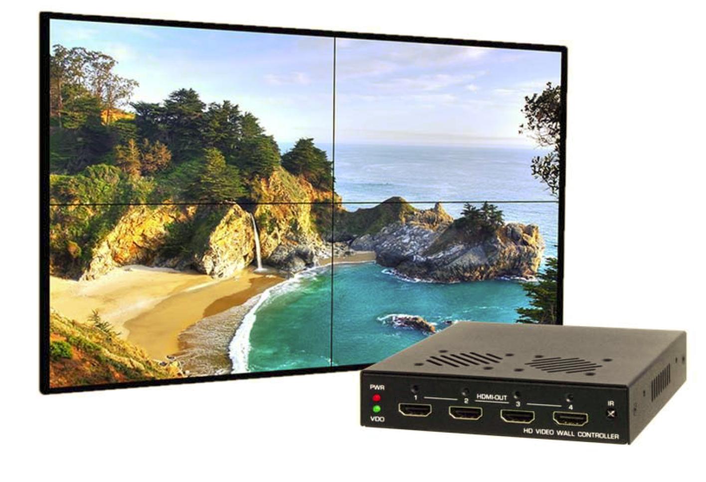 HDMI or VGA to 2x2 or 1x4 HDMI 4-Monitor Video Wall