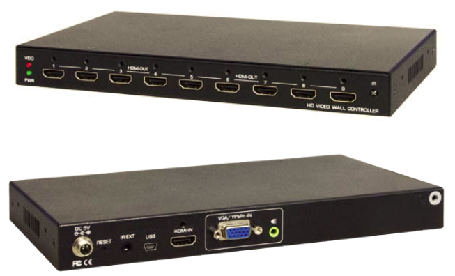 HDMI or VGA to 3x3 HDMI 9-Monitor Video Wall Controller