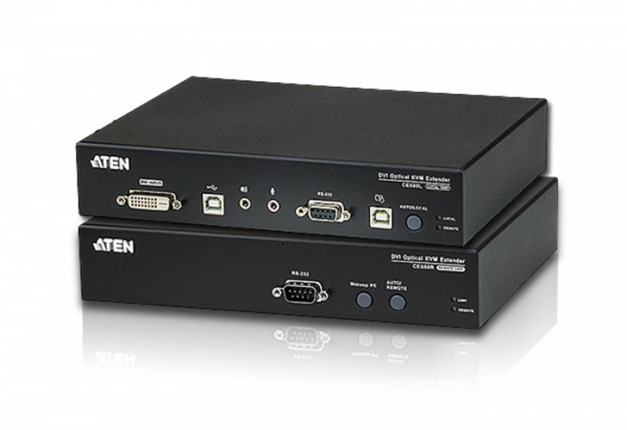 DVI, USB, Audio, RS232 Glasfaser-KVM-Extender-Set bis 600 m (1920x1200), Aten CE680